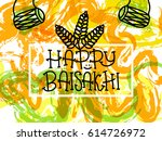 card with text happy baisakhi....   Shutterstock .eps vector #614726972