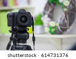 camera in the studio on a... | Shutterstock . vector #614731376