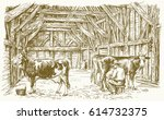 cows inside a barn. milking the ... | Shutterstock .eps vector #614732375