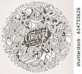 cartoon cute doodles hand drawn ...   Shutterstock .eps vector #614733626