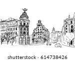 sketch of gran via street in... | Shutterstock .eps vector #614738426