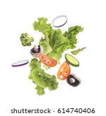 salad flying on a white... | Shutterstock . vector #614740406