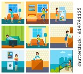 the girl in various situations  ... | Shutterstock .eps vector #614741135