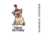 happy birthday. puppy pug.   Shutterstock .eps vector #614741816