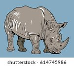 vector image of a rhino | Shutterstock .eps vector #614745986