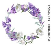 Lavender And Peony Round Frame...