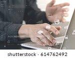 close up of businessman hand... | Shutterstock . vector #614762492