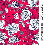 seamless classic rose... | Shutterstock .eps vector #614763182