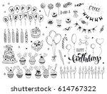 happy birthday celebration... | Shutterstock .eps vector #614767322