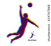 volleyball athlete in action.... | Shutterstock .eps vector #614767868