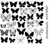 Stock vector big collection silhouette black butterflies for design isolated on white vector 61476967