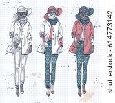 vector elegant women with coat  ... | Shutterstock .eps vector #614773142