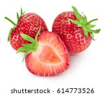 strawberry isolated on white... | Shutterstock . vector #614773526
