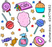 doodle of various candy colorful | Shutterstock .eps vector #614774852