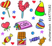 doodle of candy food various | Shutterstock .eps vector #614775182