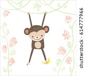 cute monkey with banana and... | Shutterstock .eps vector #614777966