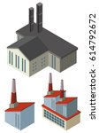 three designs of factory... | Shutterstock .eps vector #614792672