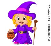 cute young witch | Shutterstock . vector #614799422