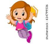 school girl cartoon walking   Shutterstock . vector #614799536