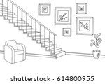 hallway graphic stairs black... | Shutterstock .eps vector #614800955