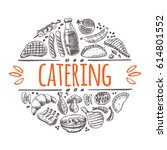 catering concept. hand drawn... | Shutterstock .eps vector #614801552