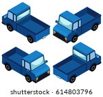 blue truck in four different... | Shutterstock .eps vector #614803796
