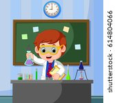 young scientist points to...   Shutterstock . vector #614804066