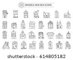 set of vector doodle icon... | Shutterstock .eps vector #614805182