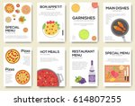 cooking information cards set.... | Shutterstock .eps vector #614807255