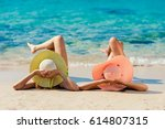 young fashion woman relax on... | Shutterstock . vector #614807315