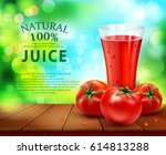 vector with a glass of tomato... | Shutterstock .eps vector #614813288