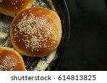 tasty buns with sesame. freshly ...   Shutterstock . vector #614813825