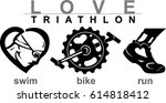 love triathlon fitness icons | Shutterstock .eps vector #614818412