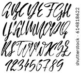 hand drawn font. modern dry... | Shutterstock .eps vector #614818622