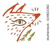 cute red fox  cartoon character ... | Shutterstock .eps vector #614821382