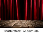 red curtains and old vintage... | Shutterstock . vector #614824286