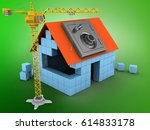 3d illustration of block house... | Shutterstock . vector #614833178