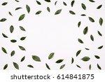 green leaves frame on white... | Shutterstock . vector #614841875