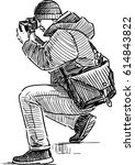 sketch of a photographer taking ... | Shutterstock .eps vector #614843822