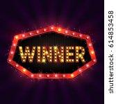 shining retro sign winner... | Shutterstock .eps vector #614853458