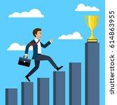 businessman running on graphs...   Shutterstock .eps vector #614863955