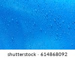Water Drops On Blue Metal...