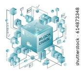 block chain vector illustration ... | Shutterstock .eps vector #614873348