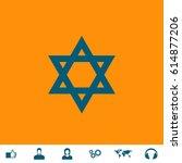 star of david. blue symbol icon ... | Shutterstock .eps vector #614877206