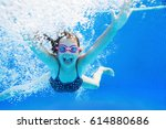 little girl creates bubbles... | Shutterstock . vector #614880686