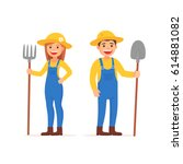 cute man and girl farmers.... | Shutterstock .eps vector #614881082