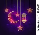 ramadan greeting card on violet ... | Shutterstock .eps vector #614881412