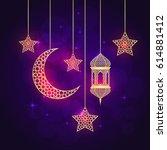 ramadan greeting card on violet ... | Shutterstock .eps vector #614881412