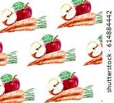 apple and carrot fruit... | Shutterstock . vector #614884442