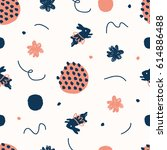 hand drawn doodle cute pattern...   Shutterstock .eps vector #614886488